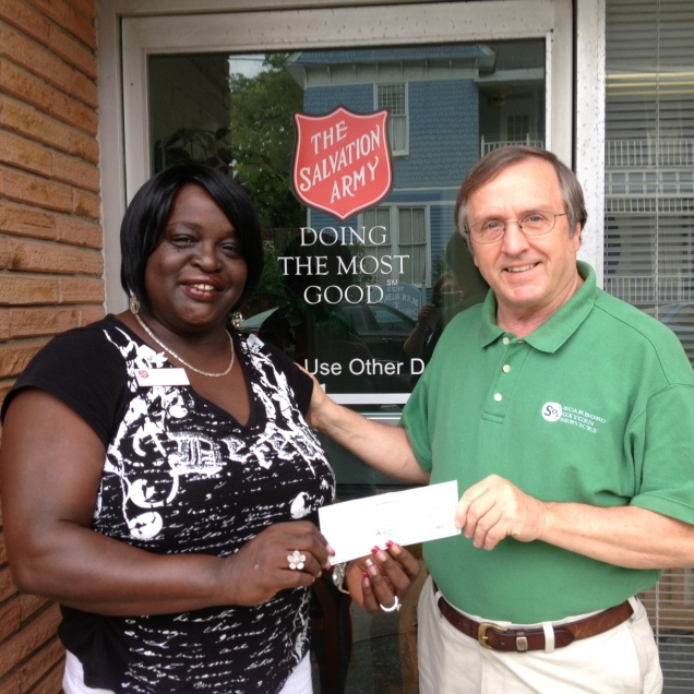 Pictured are Audrey Easterling with the Salvation Army and Pastor Ron.