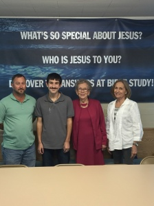 Prayer Team for Jayson Cobb (L-R) Jeremy Anderson, Jayson Cobb, Gwen Dubbs, Martha Roberts
