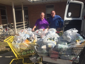 Pastor Ron and Service Tech, Randy Mason (Scarboro Oxygen) with just four of the eight large shopping buggies we loaded with non-perishable food for the Sparrow's Nest.